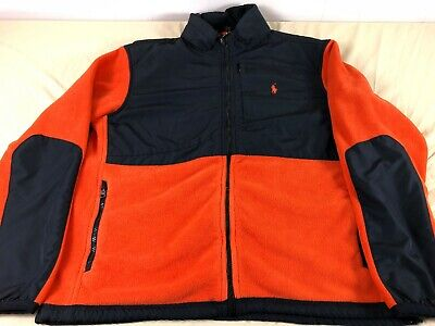 Nice Polo Ralph Lauren Polartec Full Zip Denali Orange Black Fleece Jacket Men L
