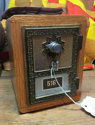 Vintage Post Office PO Mail Box Door Bank Brass And Wood W/ Combination WORKS!