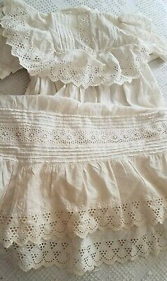 Antique Christening Gown Ayrshire Embroidery Eyelet Lace Baby Doll Dress Cotton