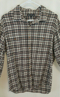 J Crew Mercantile Mens Size  Large Brown Plaid Flannel Shirt 100% Cotton