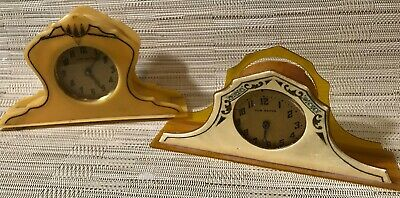 Two  Antique Clocks made of Bakelite and Celluloid Gorgeous Design AS IS