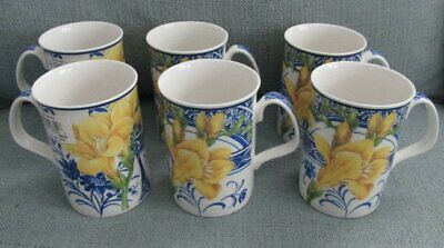 New with Tags! Set of 6 Royal Doulton Expressions Blue China Florals Yellow Mugs