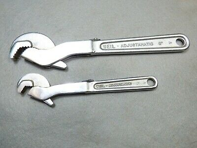 Vintage Weil adjust a matic wrench tool lot 6 and 8 inch