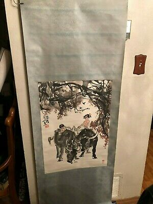 Vintage/Antique Chinese Hand Painted Scroll Marked