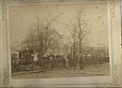 1890-99 Simsbury Conn Family In Front Of Country Home & Barn Sepia Cabinet Photo