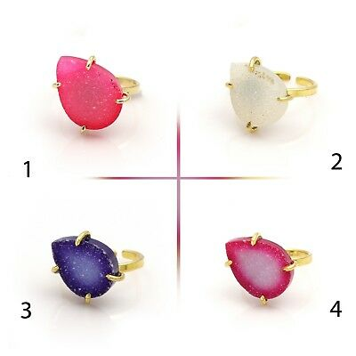 Suger Druzy Pear Shape Gemstone Gold Pated Prong Style Ring Handmade Jewelry