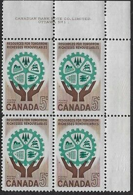 Canada, 1961 Resources for Tomorrow 5¢, Sc #341 Plate Blk No.1, UR, MNH - ow456