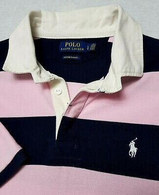 Polo Ralph Lauren Mens Polo Rugby Shirt Top L Navy Blue Pink White