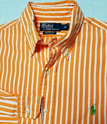 Polo By Ralph Lauren Mens Shirt M Orange White Striped Long Sleeve