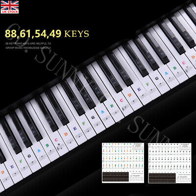 Piano Stickers for 49,54,61 88 KEY Music Keyboard KEYNOTES Labels