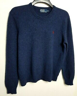Polo By Ralph Lauren Mens Jumper Sweater M Blue Black 100% Lambswool