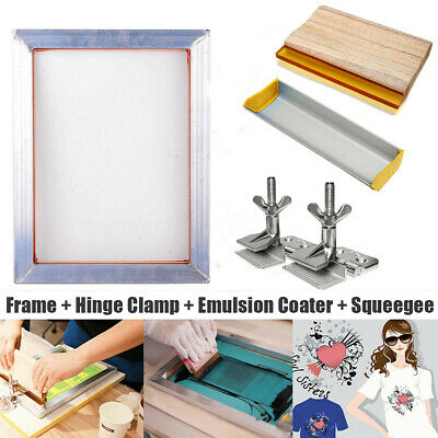 A3 Screen Printing Aluminum Frame + Hinge Clamp + Emulsion Coater + Squeegee Kit