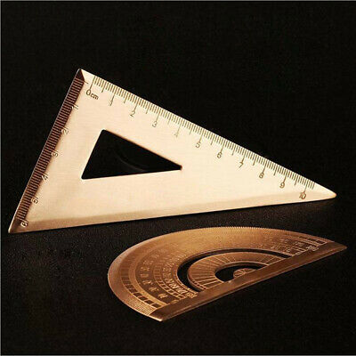 Durable Square Brass Protractor Triangle Ruler Stationery Math Geometry Gift AU