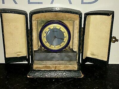 Antique Carriage/Travel Clock Gilt Brass & Blue Enamel Marble Base  Leather Case