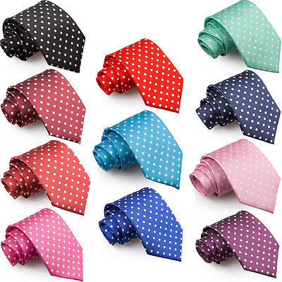 Classic Tie Woven Polka Dot Dotted Formal Mens Necktie FREE Pocket Square by DQT