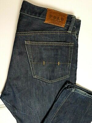 Polo Ralph Lauren Mens Jeans W34 L30 Blue Button Fly Straight