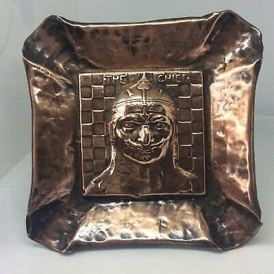 Antique Arts & Crafts Movement Figural Copper Dish The Chief Design Knight