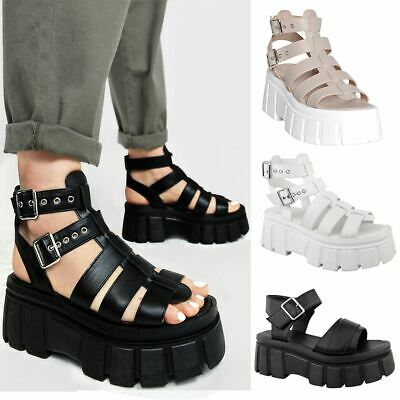 Womens Ladies Chunky Sole Thick Strappy Sandal Summer Gothic Buckle Comfort New
