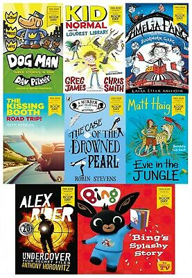 World Book Day 2020 Collection 8 Books Set Dog Man, Amelia Fang, Alex Rider, Kid
