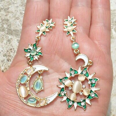 Art Deco Moon Sun Star Earrings Gold Colorful Large Drop Vintage Style Lady Gift