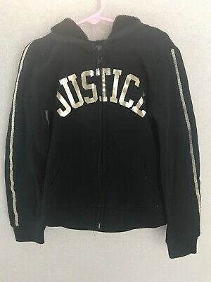 JUSTICE Girls Size 7 Black Full Zip Hoodie Jacket  Preowned