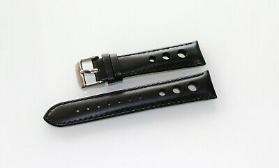 New Roder Genuine Leather Black Band Wrist Watch Strap Model Perforated 20 mm