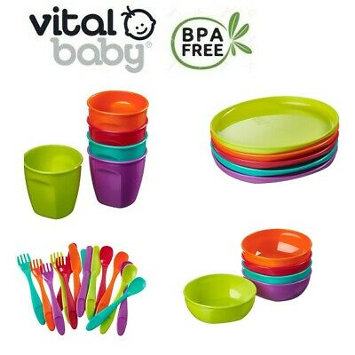 Vital Baby NOURISH Baby & Toddler Feeding Bowl Plate Drinking Cup or Cutlery Set