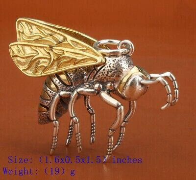 Chinese Real Silver 925 Silver Pendant Statue Bee Mascot Decorated Gift