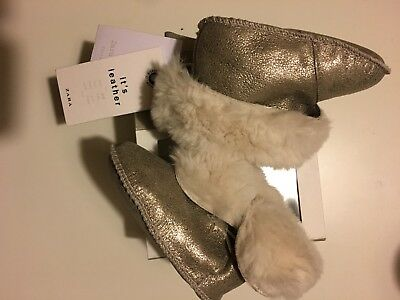 Zara Kids Girls Leather Turn Down Furry Boots Shoes Gold Boxed BNWT Size 1.5 - 3
