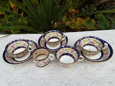 Early 19th Century New Hall porcelain hand painted floral cups & saucers