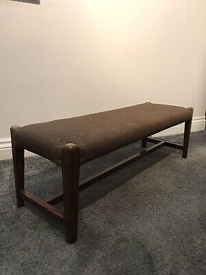 Vintage Retro Wooden Long Double  Foot Stool-bench-Seat-occasional