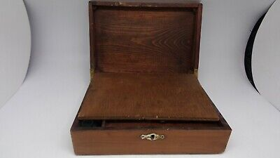 Antique wooden writing slope bureau with flower detail on lid Art Nouveau