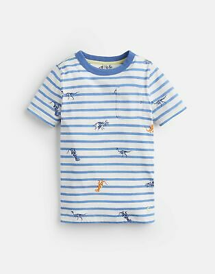 *BNWT* Joules Boys Oscar Lime Blue Grey Striped Long Sleeved Tee Top T-Shirt