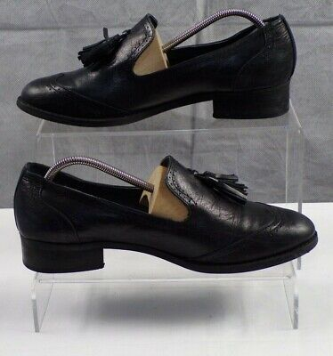 Next Black Women's Leather Tassel Brogues Loafer Slip on Shoes UK Size 6.5 VGC