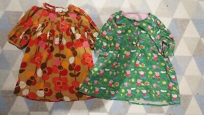 next girls dresses 1-2 years red and orange and green peppa pig.