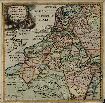 Germanic Tribes Rhine River Belgium Holland 1711 Cluverius historical map
