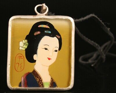 Retro Chinese Tibet Silver Pendant Beauty Crafts Decorated