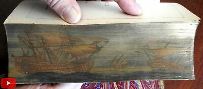 Fore-edge paintings on rare leather books 1853 tall mast ships Joanna Baillie