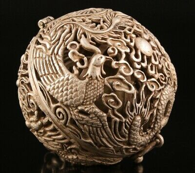 China Tibetan Silver Pendant Incense Ball Hollow Dragon Phoenix Gift Old