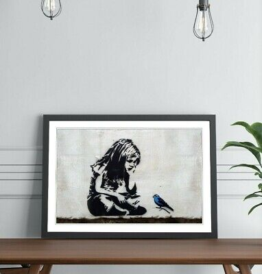Banksy Girl with blue bird Banksy Street Art dictionary page art print P93