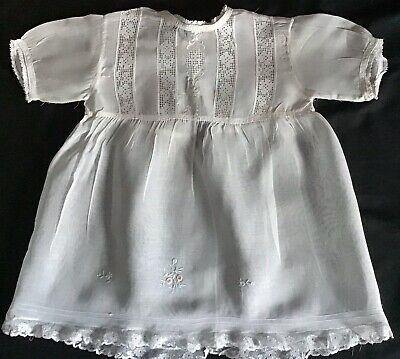 Gorgeous Fine Antique Organza Baby/Doll Gown ~ Lace & Embroidery