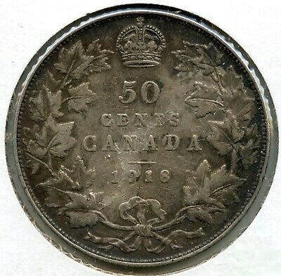 Canada 1918 Silver Coin 50 Cents - King George V BH153