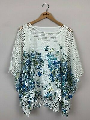 NWT Nurture White Crochet Lace Blue Floral Layered Style Shirt Top Size Small S