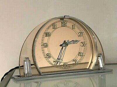 Art Deco Mantel Clock Glass & Chrome Good Working Order