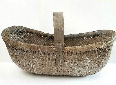 Antique Chinese handwoven willow basket with original iron Shanxi Province c1920
