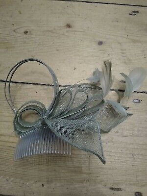 Light Grey Hair Fascinator With Feathers