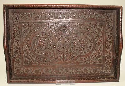 Large Antique Persian Isfahan Wooden Hand Carved Floral Decoration Tray c1915