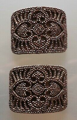 02/20  Pair of Bronze Edwardian Steel Cut French Made Shoe Buckles