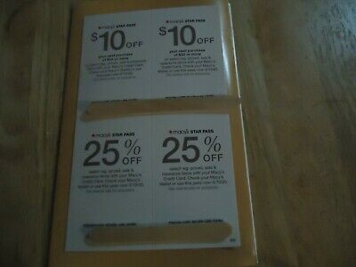 Macy's Star Pass Coupons  see each coupon for each amount/ exclusions of  use