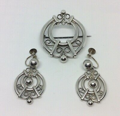 Stunning Antique Victorian Arts & Crafts Style Silver Pin Brooch & Earrings Set